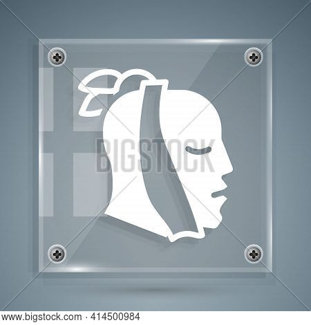 White Toothache Icon Isolated On Grey Background. Square Glass Panels. Vector