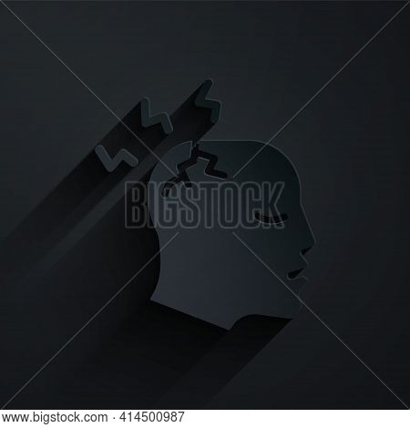Paper Cut Man Having Headache, Migraine Icon Isolated On Black Background. Paper Art Style. Vector