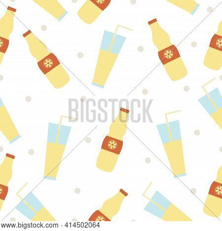 Seamless Pattern With Hand Drawn Glass Cup And Bottle Of Lemonade On A White Background. Kitchen Ute