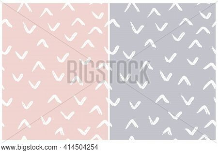Simple Irregular Geometric Seamless Vector Patterns. White Hand Drawn Spots Isolated On A Light Dust