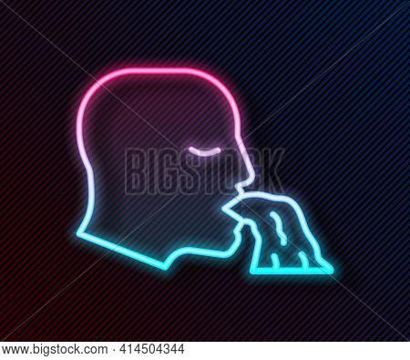 Glowing Neon Line Vomiting Man Icon Isolated On Black Background. Symptom Of Disease, Problem With H
