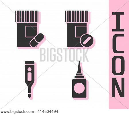 Set Bottle Nasal Spray, Medicine Bottle And Pills, Medical Digital Thermometer And Medicine Bottle A