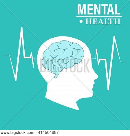 The Silhouette Of A Human Head And Brain. Illustration Of The Mental Health Concept Vector. Psycholo