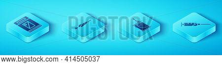 Set Isometric Cigarettes Pack Box, Marijuana Joint, Syringe And Electronic Cigarette Icon. Vector
