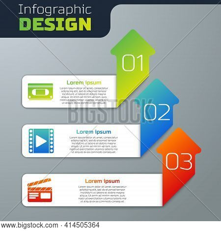 Set Vhs Video Cassette Tape, Play Video And Movie Clapper. Business Infographic Template. Vector