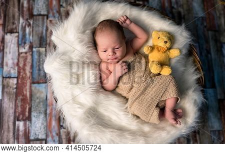 Little newborn baby warped  in a knitted rug near teddy bears toys