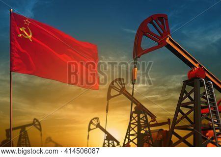 Soviet Union (sssr, Ussr) Oil Industry Concept, Industrial Illustration. Fluttering Soviet Union (ss