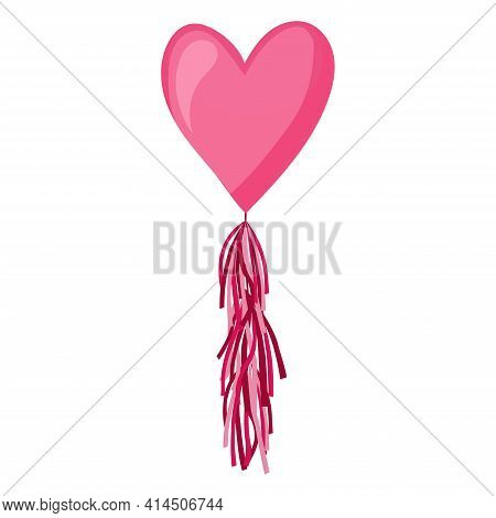 Pink Heart Balloon On Background. Frosted Party Balloons For Event Design. Balloons Isolated In The