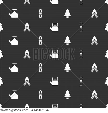 Set Forest, Campfire, Kettle With Handle And Climber Rope On Seamless Pattern. Vector