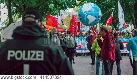 Hamburg, Germany - July 2 2017: Colourful And Peaceful Demonstration Against Climate Change And G20