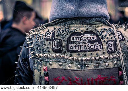 Hamburg, Germany, May 1 2017: Sometimes Antisocial But Always Antifascist Punk Jeans Jacket May Prot