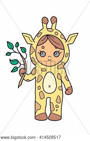 Little Girl Wearing Giraffe Jumpsuit Holding A Leafed Branch, Cute Cartoon Character Isolated On Whi