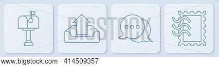 Set Line Mail Box, Speech Bubble Chat, Upload Inbox And Postal Stamp. White Square Button. Vector