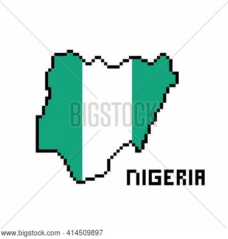 Federal Republic Of Nigeria, Pixel Art African Country Map With Flag Isolated On White Background.