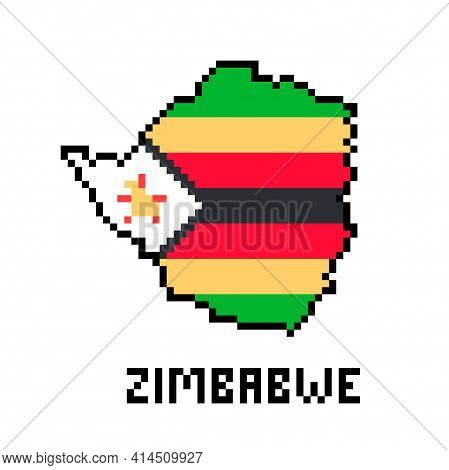 Republic Of Zimbabwe, Pixel Art African Country Map With Flag Isolated On White Background.