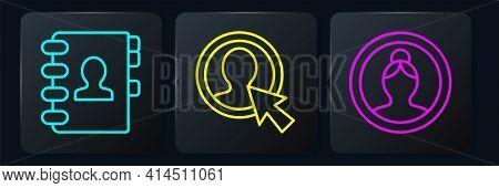 Set Line Address Book, Create Account Screen And Create Account Screen. Black Square Button. Vector
