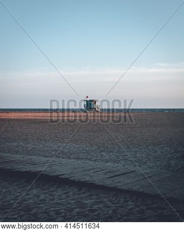 Lifeguard Station Tower On Beach At Santa Monica Los Angeles During Dusk