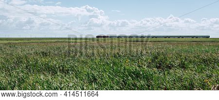 Hindenburg Train Track Towards Sylt In Summer