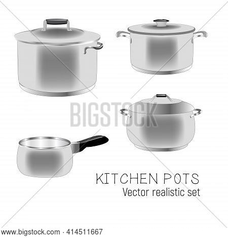 Set Of Kitchen Metal Pans. Illustration Of Cookware Realistic Design Isolated On A White Background.