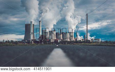 Street Towards Power Plant In Niederaussem Germany, Lignite-fired