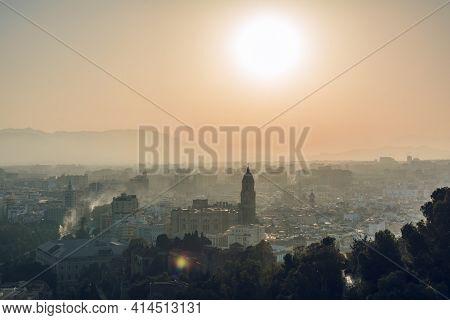 Cityscape - Panorama Of Malaga At Sunset, Andalusia, Spain