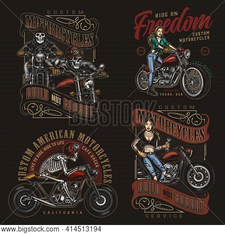 Motorcycle Vintage Colorful Emblems With Skeleton Moto Riders And Pretty Biker Girls On Dark Backgro