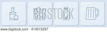 Set Line Whiskey Bottle And Glass, Alcohol Drink Rum, Glass Of Whiskey And Wooden Beer Mug. White Sq