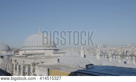 View Of Domes Of Mosque And Panorama Of City. Action. Beautiful View Of City Opens From Great Mosque
