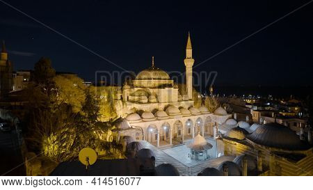 Mosque And Turkish Town At Night. Action. Top View Of Istanbul At Night With Glowing Mosque. Beautif