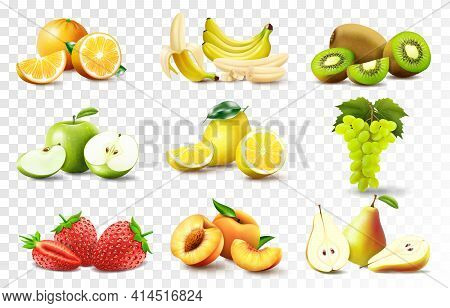 Set Of 3d Realistic Juicy Fruits Apple, Banana, Orange, Lemon, Grapes., Peach, Strawberry, Pear, Kiw