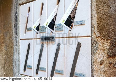 Venice, Italy-september 4, 2018: Mailboxes With Letters And Newspapers On The Central Street Of Veni