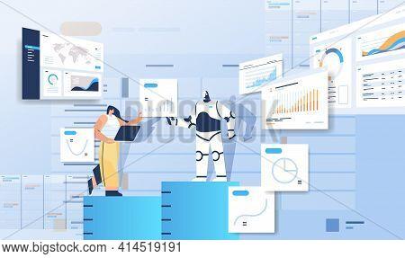 Robot With Businesswoman Analyzing Statistics Graphs Financial Data Analyzing Artificial Intelligenc