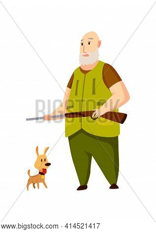 Old Hunter Character With Rifle And Little Hunting Dog . Man With A Gun In Camouflage In Cartoon Sty