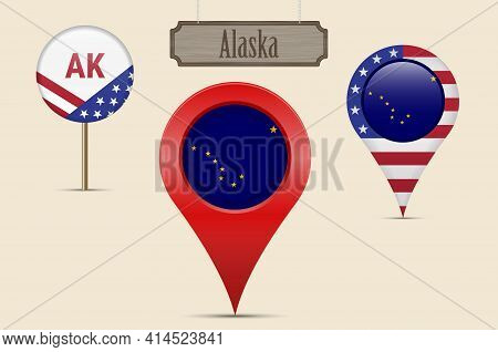 Alaska Us State Round Flag. Map Pin, Red Map Marker, Location Pointer. Hanging Wood Sign In Vintage