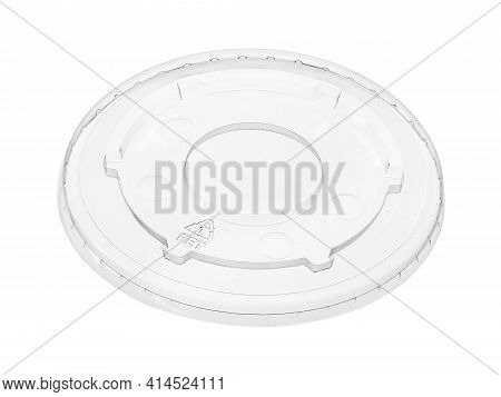 Plastic Drinking Cup Cover Lid Disposable (with Clipping Path) Isolated On White Background