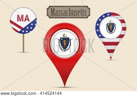 Massachusetts Us State Round Flag. Map Pin, Red Map Marker, Location Pointer. Hanging Wood Sign In V