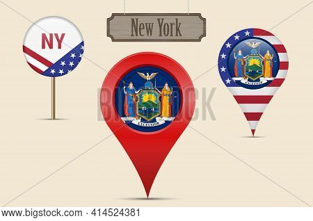 New York Us State Round Flag. Map Pin, Red Map Marker, Location Pointer. Hanging Wood Sign In Vintag