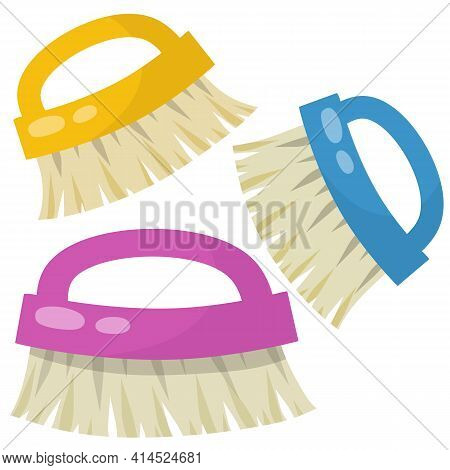 Brush For Wet House Cleaning And Sweeping. Item For Combing Horse. Cartoon Flat Illustration. Object