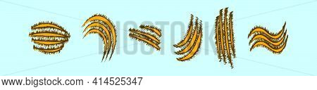 Set Of Claws Ripping Cartoon Icon Design Template With Various Models. Modern Vector Illustration Is