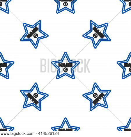 Line Hollywood Walk Of Fame Star On Celebrity Boulevard Icon Isolated Seamless Pattern On White Back