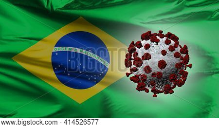 A Brazilian Flag With A Covid-19 Virus. South Brazilian Variant.