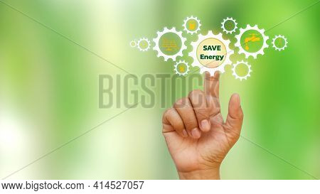 Businessmen Click On The Text Save Energy, Including Icons About Energy, Energy Saving Ideas And Eco