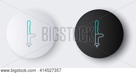 Line Police Rubber Baton Icon Isolated On Grey Background. Rubber Truncheon. Police Bat. Police Equi