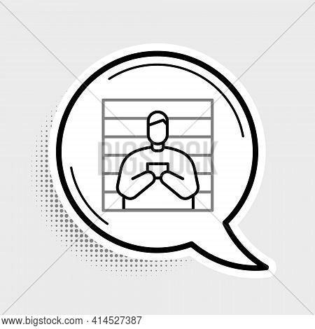 Line Suspect Criminal Icon Isolated On Grey Background. The Criminal In Prison, Suspected Near The B