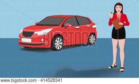ฺbeautiful Young Car Salesman Stood Holding Documents And Showing The Car Key. Red Passenger Cars Ar