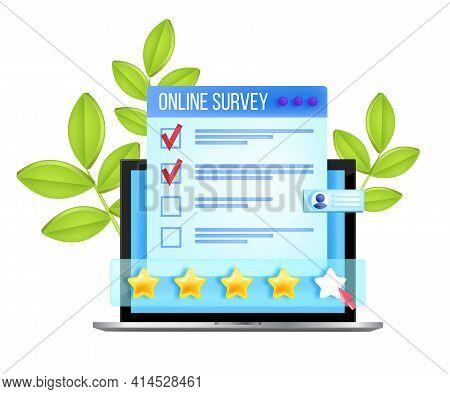 Online Survey, Web Questionnaire Form, Internet Feedback Checklist Vector Concept, Laptop Screen, St