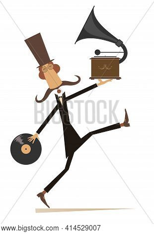 Funny Man With Vintage Record Player And Record Illustration.  Walking Long Mustache Man In The Top