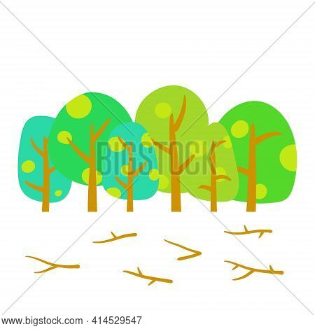 Summer Forest. Green Woodland. The Park And Plants. Landscape For The Background. Flat Cartoon Illus