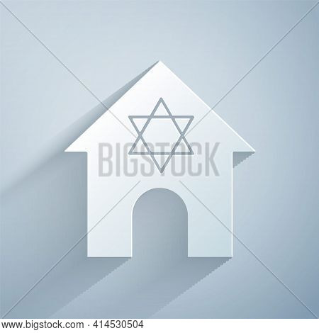 Paper Cut Jewish Synagogue Building Or Jewish Temple Icon Isolated On Grey Background. Hebrew Or Jud