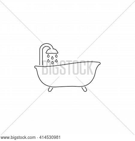 Bath Line Icon Vector. Style Sign For Mobile Concept And Web Design. Bath Symbol